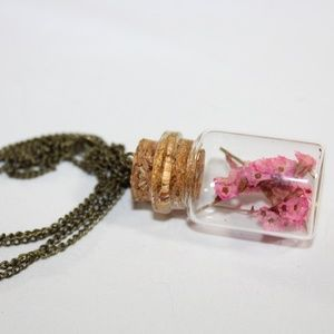 Hand Crafted Real Dried Flower Vial Necklace Brass